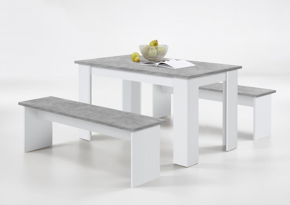 white dining bench. German SlumberHaus Dorma Dining Table And 2 Bench Set Oak White Grey Concrete